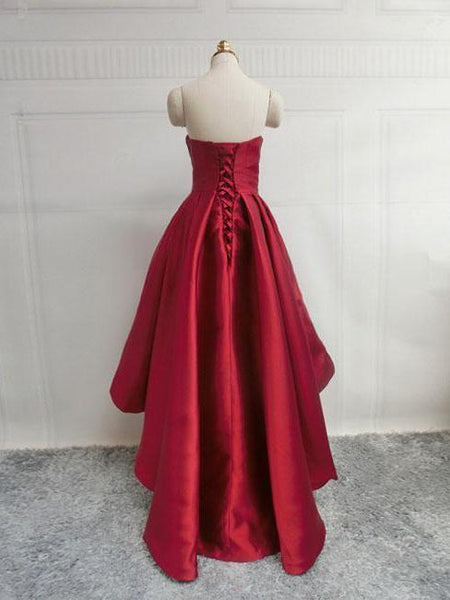 Simple Cute Dark Red High low Cheap Homecoing Dresses 2018, CM425