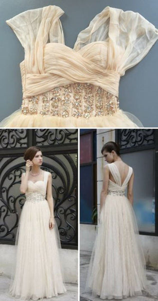 Charming Simple Design Ivory High Waist Rhinestone Wedding Party Dresses, WD0070 - SposaBridal
