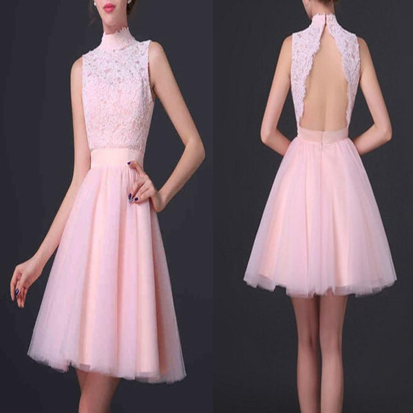 Popular pink high neck open back elegant cute for teens homecoming prom gowns dress,BD0070