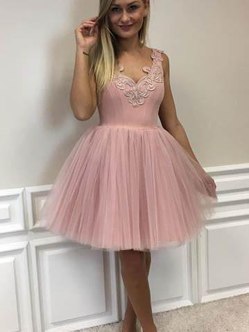 Dusty Pink V Neck Lace Cheap Short Homecoming Dresses Online, CM594