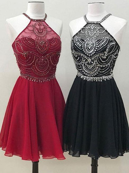 Black Chiffon Halter Beaded Cheap Short Homecoming Dresses Online, CM598 - SposaBridal