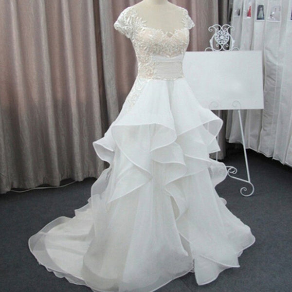 Cap Sleeve Beautiful Lace Wedding Party Dresses, Cheap Chiffon Bridal Gown, WD0076 - SposaBridal