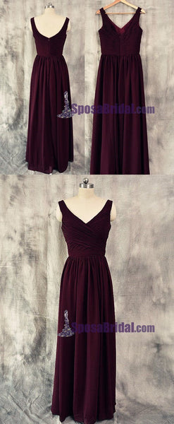 Burgundy V Neck Cheap Chiffon Custom Most Popular Bridesmaid Dresses. Wedding guest dress,  PD0666 - SposaBridal