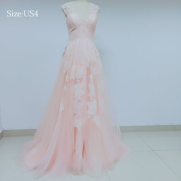 Discount Cheap Short in Size In Stock V Neck Peach Lace Prom Dresses Online,DD003