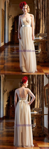Charming Sweetheart Simple Tulle Floor-Length Cheap Custom Bridesmaid Dresses, Wedding Party Dresses , WG235 - SposaBridal