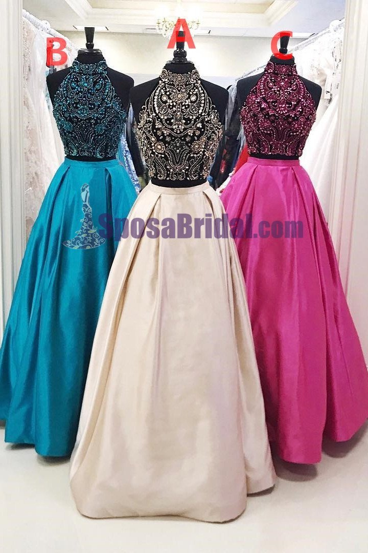 2019 Beading Two Pieces Sparkly Open Back Halt Prom Dresses, Popular Fashion Prom Dress for party,PD0669 - SposaBridal