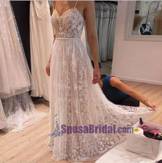 Spaghetti Straps Lace Simple Cheap Wedding Dresses, Beautiful Popular Bridals Gowns, WD0264