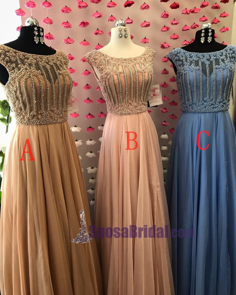 Beaded Small Cap Sleeves Chiffon A-Line High Quality Real  Modest Prom Dresses, PD0630 - SposaBridal