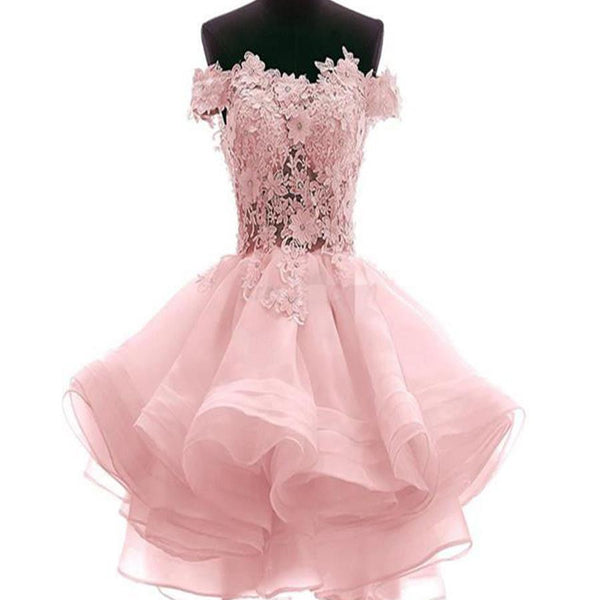 Charming popular lace off shoulder different color lovely unique homecoming prom dress,BD0085 - SposaBridal