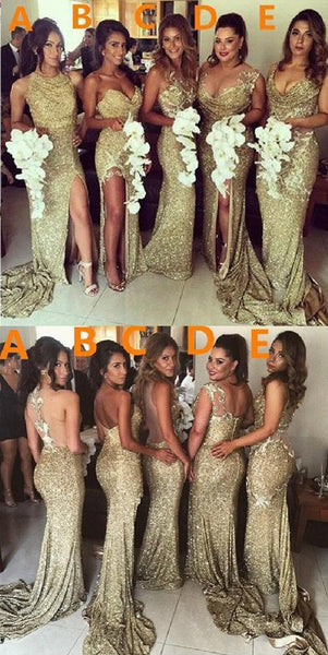 70a63502f6892 2019 Charming Most Popular Mismatched Gold Side Split Sparkly Women Long  Wedding Bridesmaid Dress, WG86