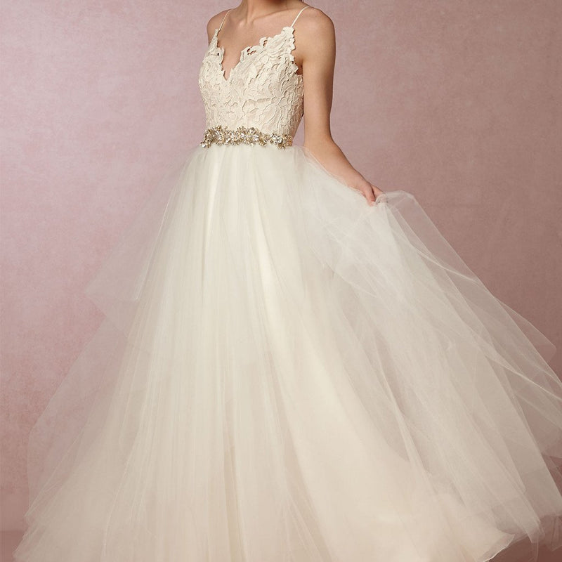 Spaghetti Lace Top Chic Design Long A-line Tulle Wedding Party Dresses, WD0086