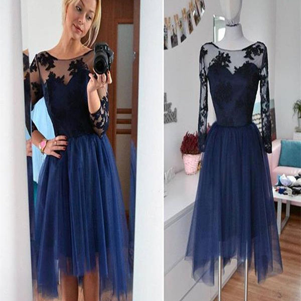 Navy long sleeve lace see through tulle simple modest casual homecoming prom gown dress,BD0086