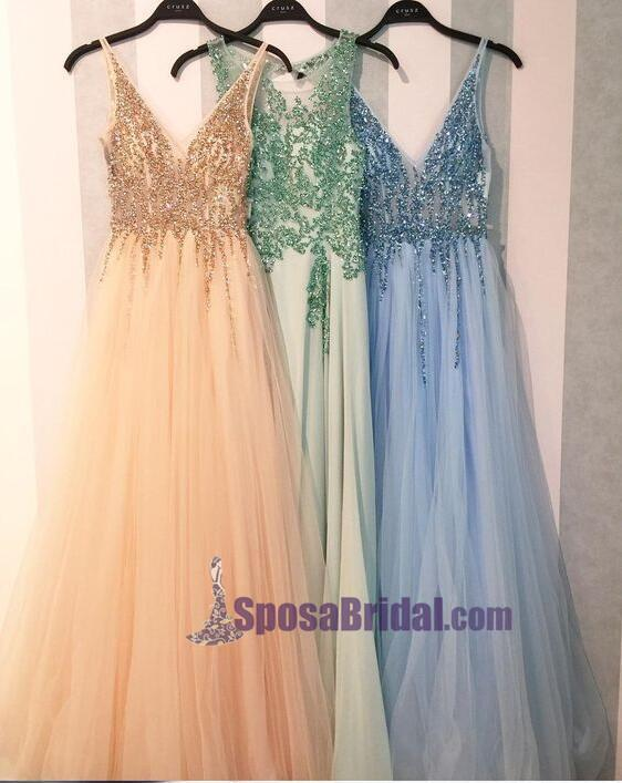 2019 Charming Shining Prom Dresses, V Neck Sequin Sparkly Gorgeous Green Blue Pink Prom Dresses, PD0628 - SposaBridal