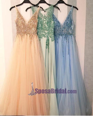 2018 Charming Shining Prom Dresses, V Neck Sequin Sparkly Gorgeous Green Blue Pink Prom Dresses, PD0628