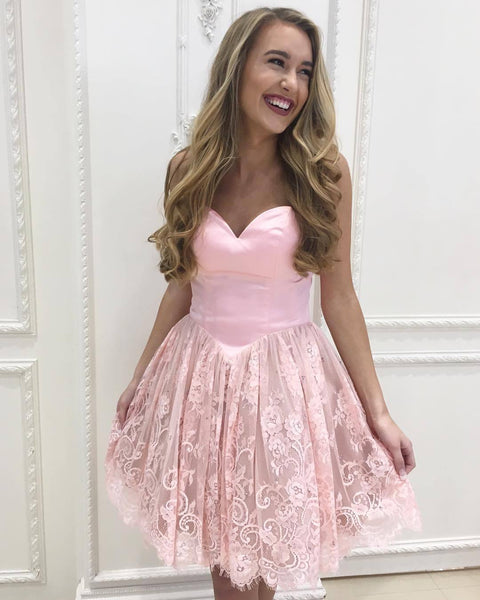Custom Sweetheart Short Pink Lace Homecoming Dresses 2018, CM522