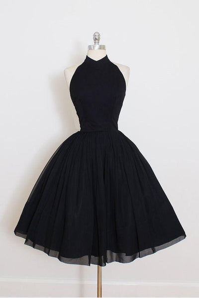 Black Halter Simple Cheap Short Homecoming Dresses 2018, CM547 - SposaBridal