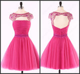 Sexy Open Back Hot Pink Beaded Cute homecoming prom dresses, CM0014