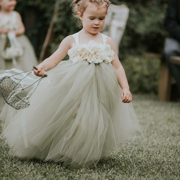 Strap Dusty Green  Cheap Popular Flower Girl Dresses, FG020