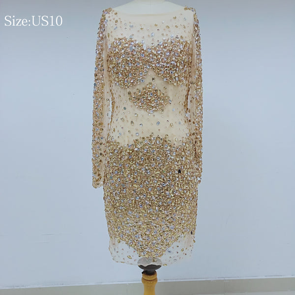 Discount Cheap Short in Size In Stock Sparkly Long Sleeves Prom Dresses Online,DD001