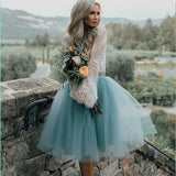 Cheap Tulle and Lace Two Pieces Blue Short Prom dress, Cocktail Homecoming Dress, PD0379 - SposaBridal