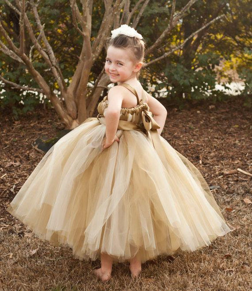 Brown Tulle Pixie Tutu Dresses, Popular Flower Girl Dresses, Free Custom Dresses, FG021 - SposaBridal
