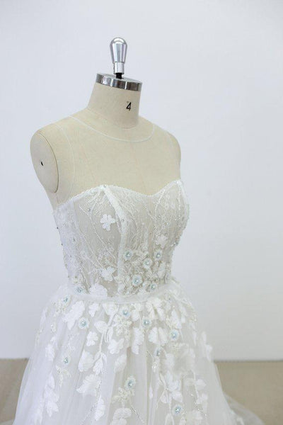 Strapless Lace See Through Beaded A-line Unique Wedding Dresses Online, WD391