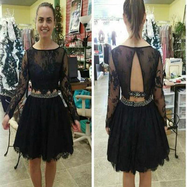 Black long sleeve lace simple see through sexy casual homecoming prom dress,BD0092 - SposaBridal