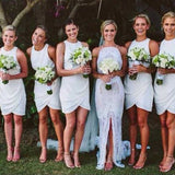 Popular Simple White Chiffon Off Shoulder Cheap Bridesmaid Dress Beach Wedding Party, WG94