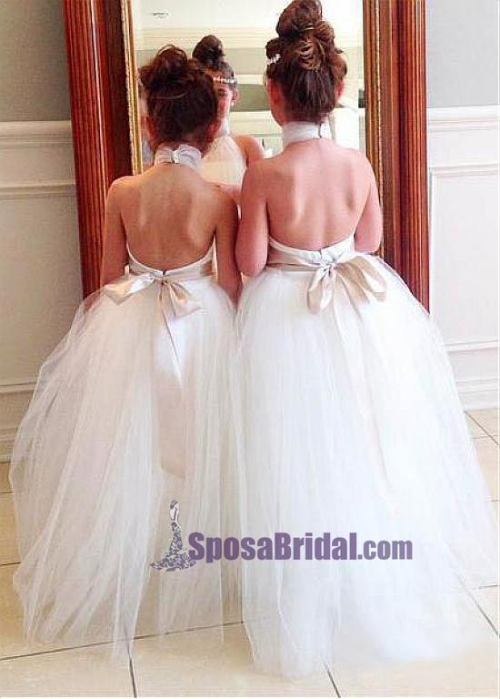 High Neck Custom Backless Lovely Cute Popular Flower Girl Dresses, Junior Bridesmaid Dresses, FG112