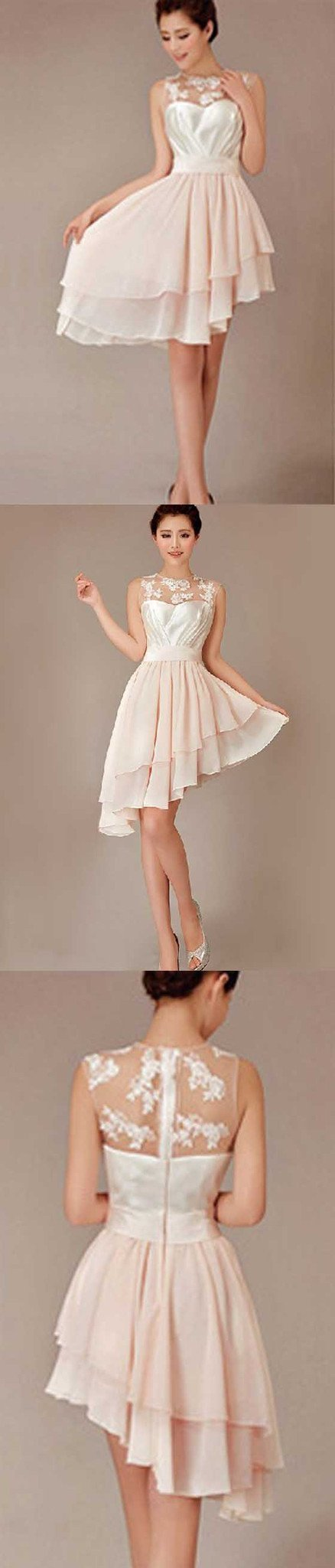 Cheap Pretty Junior Blush Pink Hi-Lo Short Knee-Length Discount Wedding Bridesmaid Dresses, WG96 - SposaBridal