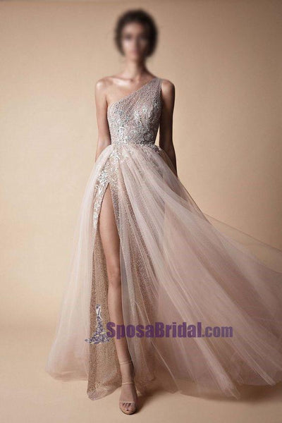 2019 One Shoulder Sparkly Side Split Elegant Modest Free Custom Prom Dresses, Fashion Prom dress, PD0686 - SposaBridal