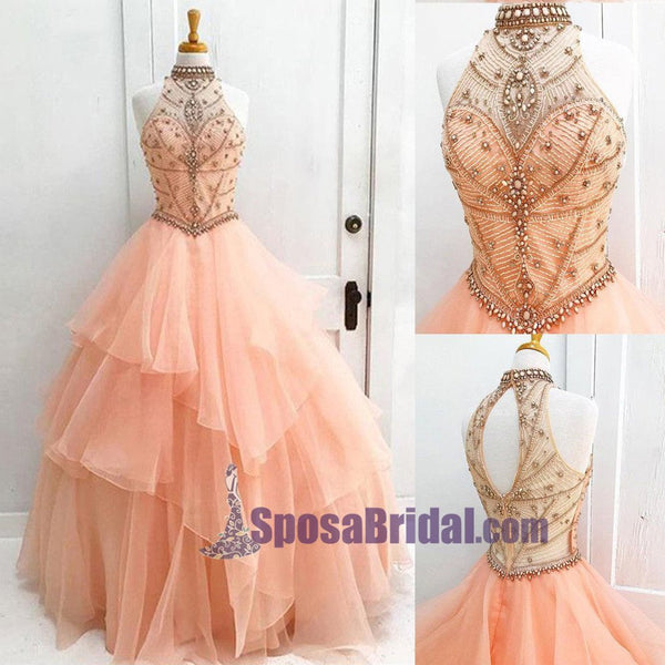 Halter High Neck Long Prom Gown, Beaded Open Back Elegant Formal Prom Dresses, PD0636