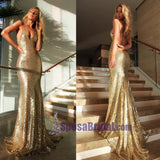 Sexy Backless Simple Spaghetti Straps Sparkly Sequin Fashion Modern Prom Dresses, PD0634