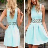 popular blue simple modest unique style lace freshman homecoming prom dress,BD0099