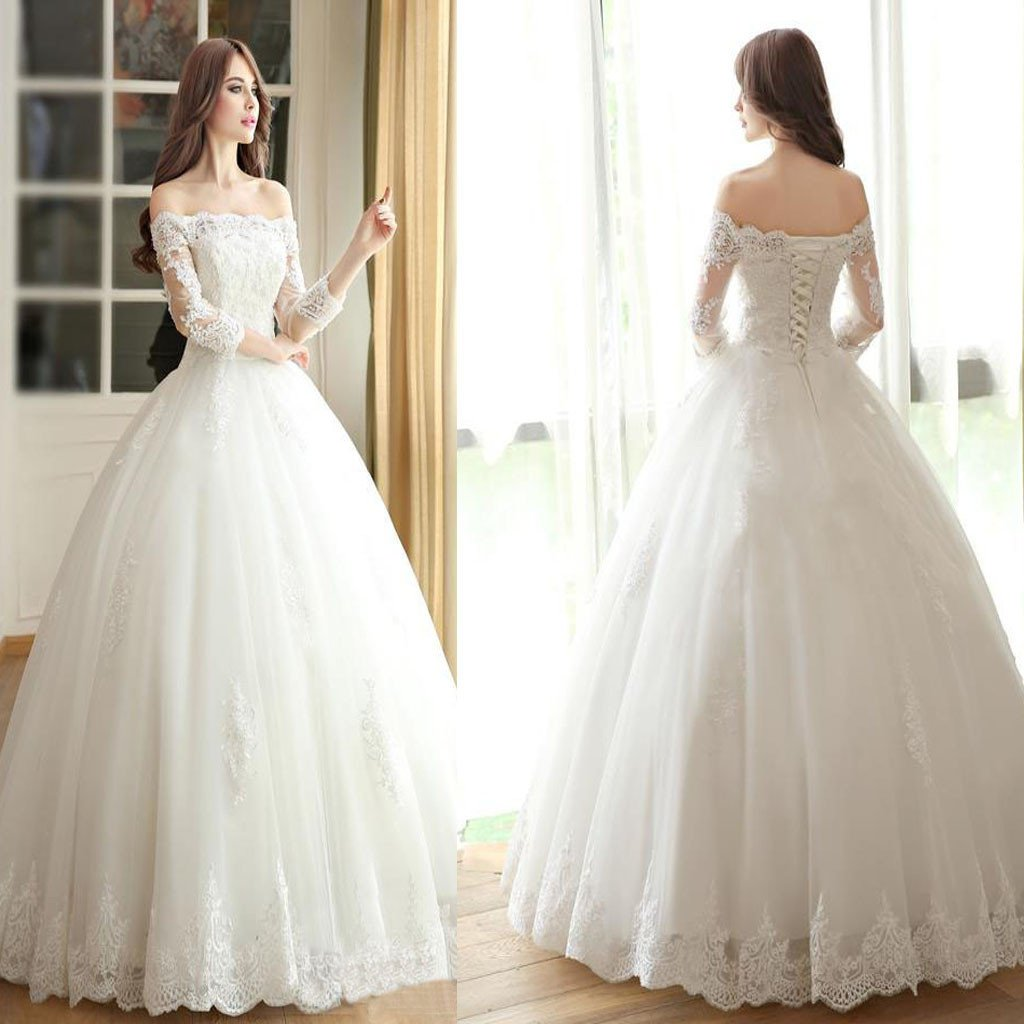 Vantage Off Shoulder Long Sleeve White Lace Wedding Dresses, Lace Up ...