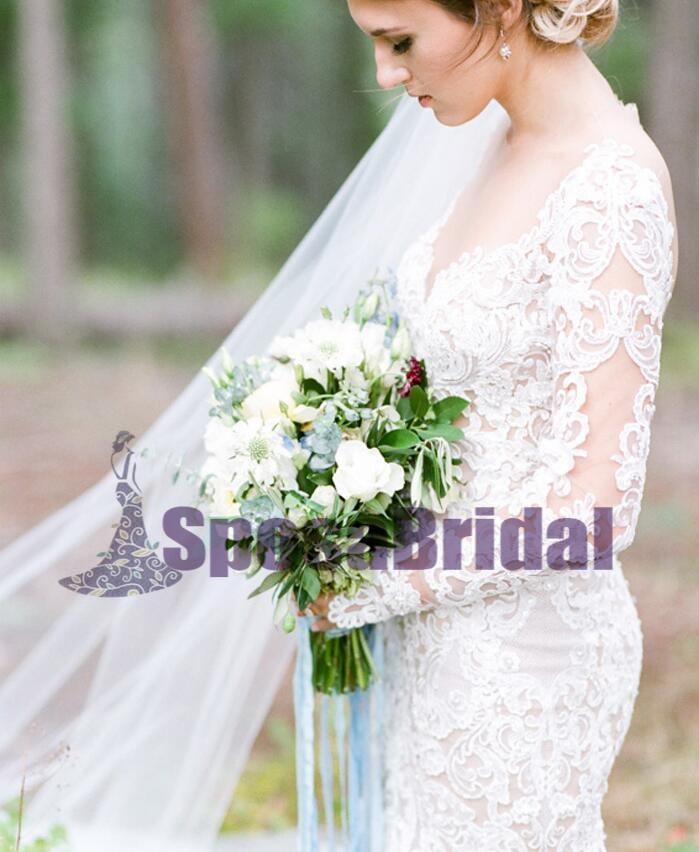 Long Full Lace Mermaid Long Sleeves New Unique Design High Quality Wedding Dresses, PD0531