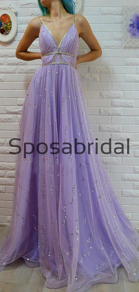 A-Line Lilac Spaghetti Straps Tulle Long Shinning Prom Dresses PD2290