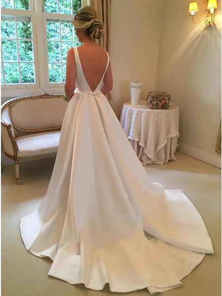 A-Line Bateau Backless Sweep Train White Satin Wedding Dress with Sash, Unique Design Bridal Gown, WD0035 - SposaBridal