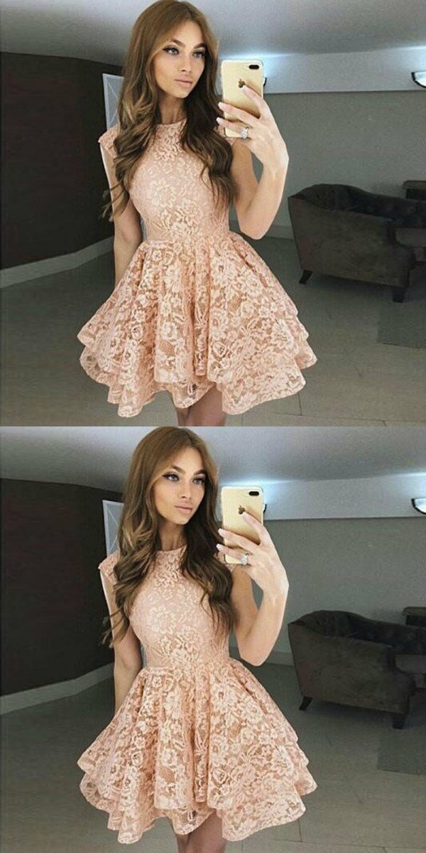 A-Line Bateau  Blush Full Lace Junior Cheap Short Cute Homecoming Dresses, BD0240