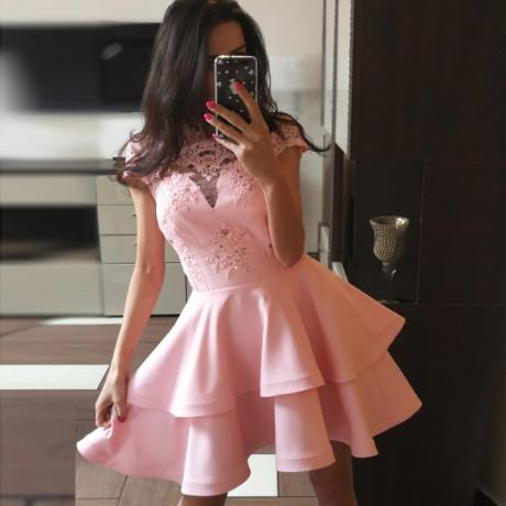 A-Line Cute Cheap Cap Sleeves Short Pink Junior Modest Homecoming Dresses, BD0241 - SposaBridal