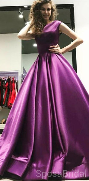 A-Line Bateau Floor-Length Pleated Purple Satin Modest Long Simple  Prom Dresses, PD1246
