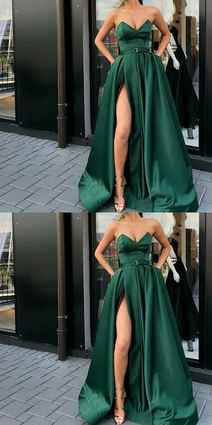 A-Line Best Sale Popular Sweetheart  Split Front Dark Green Long Prom Dresses with Belt Pockets, PD0938 - SposaBridal