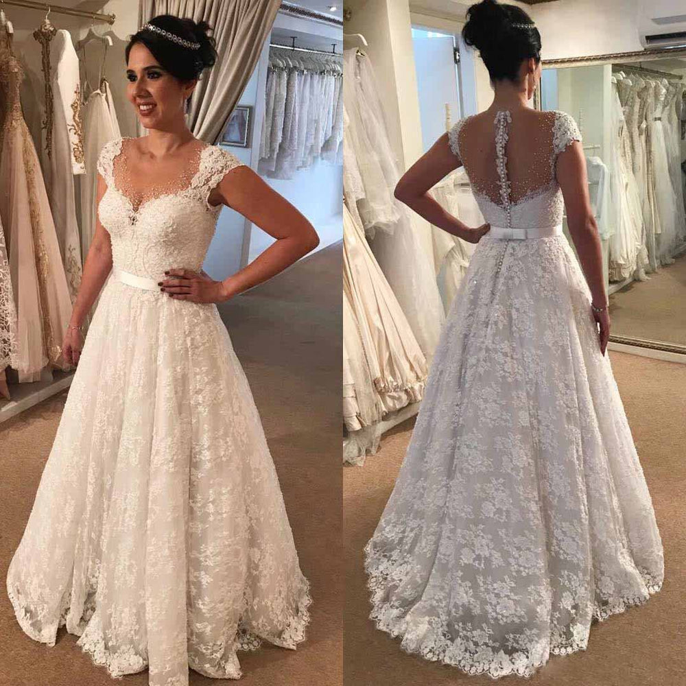A-Line Cap Sleeves Lace Elegant Fall Wedding Dresses, Free Custom High Quality Bridal gown, WD0202 - SposaBridal