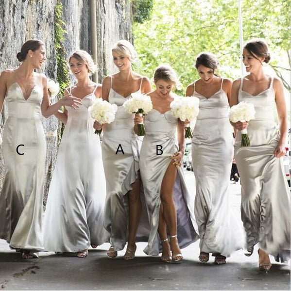 A-Line Cheap Modest Sexy Unique Spaghetti Straps Elegant Sexy Floor-Length Silver Bridesmaid Dresses, WG261 - SposaBridal