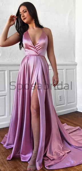 A-Line Cheap V-Neck Side Slit Spaghetti Straps Simple Long Prom Dresses PD1513