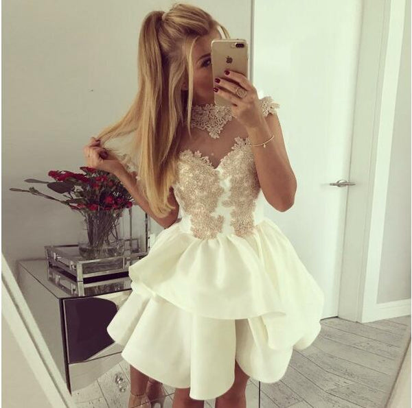 A-Line Crew Neck Cap Sleeves Appliques Junior Cheap Popular Homecoming Dresses, BD0242 - SposaBridal