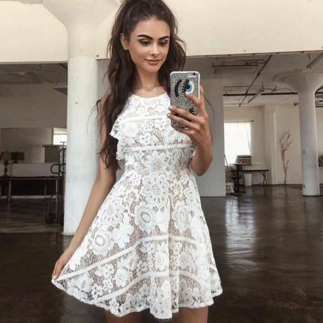 Lovely Cheap A Line Open Back Full Lace Junior Homecoming Dresses