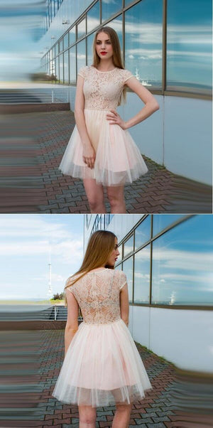 Cap Sleeves See-Through Cheap Free Custom Junior Short  Homecoming Dress with Lace, BD0245 - SposaBridal