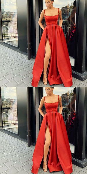 A-Line Custom Elegant Spaghetti Straps  Sweep Train Split Front Red Prom Dresses with Belt, PD0940 - SposaBridal