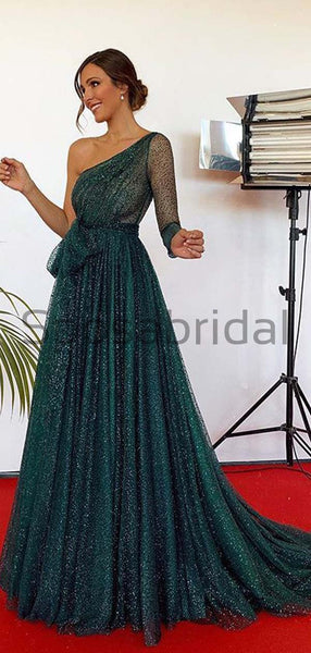 A-Line Green Sequin Tulle One Shoulder Modest Sparkly Long Prom Dresses PD1967